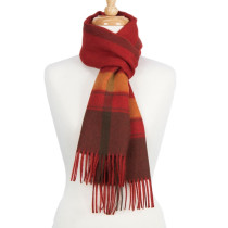 100% Baby Alpaca Woven Scarf - Red Check